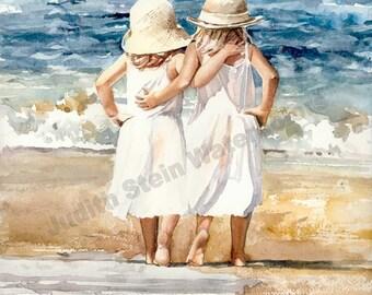 "Sister, Friend, Hug, Beach, White Dress, Straw Sun Hat, Seagull, Children Watercolor Painting Print, Wall Art, Home Decor, ""Beach Skippers"""