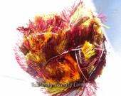 Long eyelash yarn. YarnArt Crazy Samba. Color 767. Faux fur yarn. Fun Fur yarn. Puff and soft like a cloud. Multicolor in reach fire colors