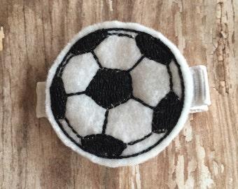 Soccer Ball Black White Felt Hair Clip Babies Toddlers Girls