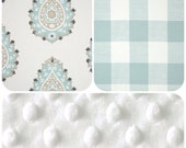 Design Your Own - Neutral Pallette Damask and Gingham -  Baby Bedding - rail covers, boppy covers, crib sheet, crib skirt, bumpers etc