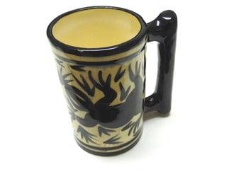 Coffee Cup Mug Gecko Lizard Black White Hand Made Signed