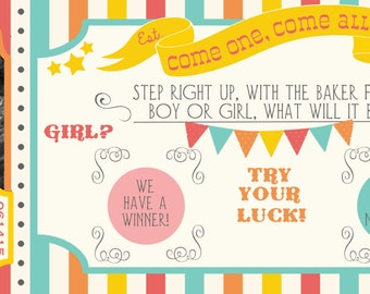Circus/Carnival Gender Reveal Scratch-off Announcement