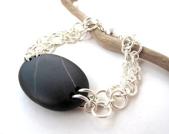 Beach Stone Jewelry River Rock Bracelet Mediterranean Beach Rock Pebble Jewelry River Stone Silver Bracelet Black BOUNTY