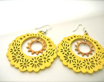 Gift for her yellow earrings flowers earrings wood hoop earrings ethnic earrings gift for best friend