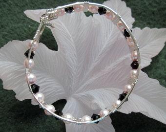 "Bracelet,Wire Wrapped,Size 7.25"",Sterling Silver Filled Wire,w/6mm Swarovski Creamrose Pearls and 5mm Genuine Swarovski Crystal Bicone Beads"