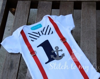 """First Birthday Shirt Bodysuit Nautical Navy Anchor Sailboat Striped Red Suspender Little Man Primary Colors Baby Boy """"1"""""""