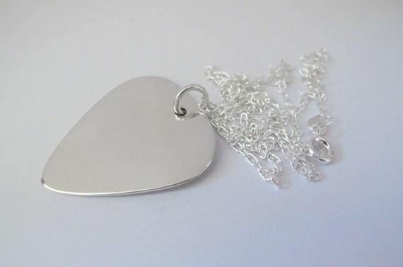 Guitar pick necklace, guitar pick, guitar pick pendant, guitar, sterling silver, guitarist, rock necklace