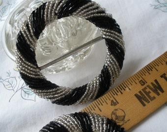 "Beaded Buckle Scarf Slide Round Silver White & Black Stripe 1.75"" opening 3"" buckle sewing t-shirt slide novelty ribbon embellishment"
