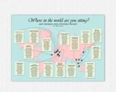 World Map Wedding Seating Chart , Map Wedding Table Plan, Wedding Seating, Travel Wedding Theme, Printable Seating Chart, UK
