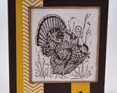 Greeting Card, Birthday, For Him, Dad, Father, Grandpa, Father's Day, Nature, Animal, Turkey, Bird, Brown, Yellow, Stamped, Chevron, Blank