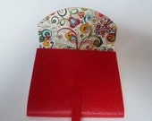 SMALL Stylish Leather Journal Leather Notebook  Red Grained Leather with a Crazy Art Nouveau Style Decorative Paper Lining.