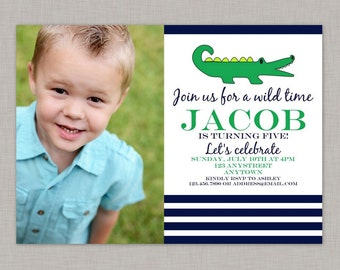 Alligator Invitation, Alligator Birthday Invitation, Alligator Party