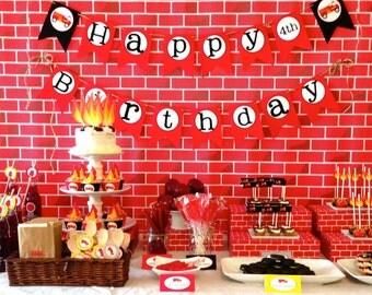 Firetruck Birthday, Firetruck Birthday Decorations, Firetruck Party, Printable