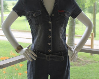 Vintage HOTKISS Stretchy Jean Shorts Romper Jumpsuit
