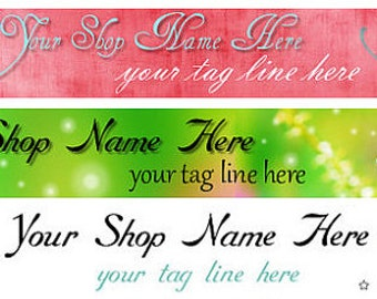 Large Etsy Facebook Cover Photo Ready Made Premade Pink Green Sparkle Glitter Butterfly Header Shop Banner- Pick one