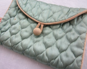 Satin Lingerie Pouch Mint Green and Peach Pink - Travel in Style!