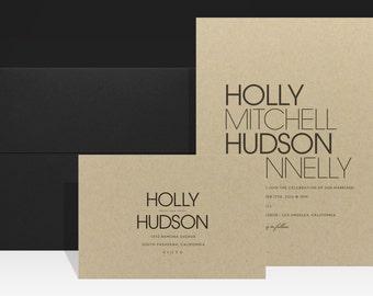 Urban Simple Wedding Invitation - Minimal Kraft Wedding Invitations - Modern Fall Wedding Invites - Holly