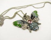 Vintage Style Butterfly Necklace with Rhinestones in Pewter Tone / Wedding Bridal Necklace - Collier Strass.