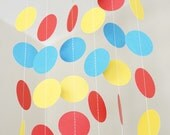 Red, Yellow and Blue Paper Circle Garland, Photo Prop, Party Decoration, Event Decor