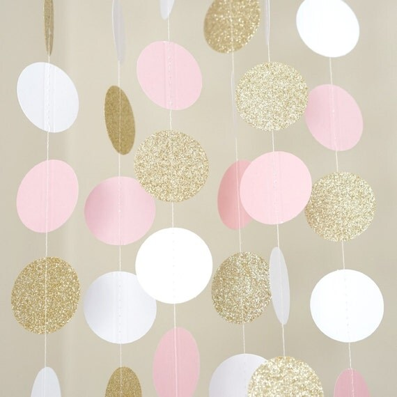 Pink White And Gold Glitter Paper Circle Garland Photo