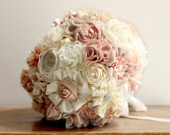Wedding Bouquet Fabric rustic Bridal Bouquet shabby chic bouquet