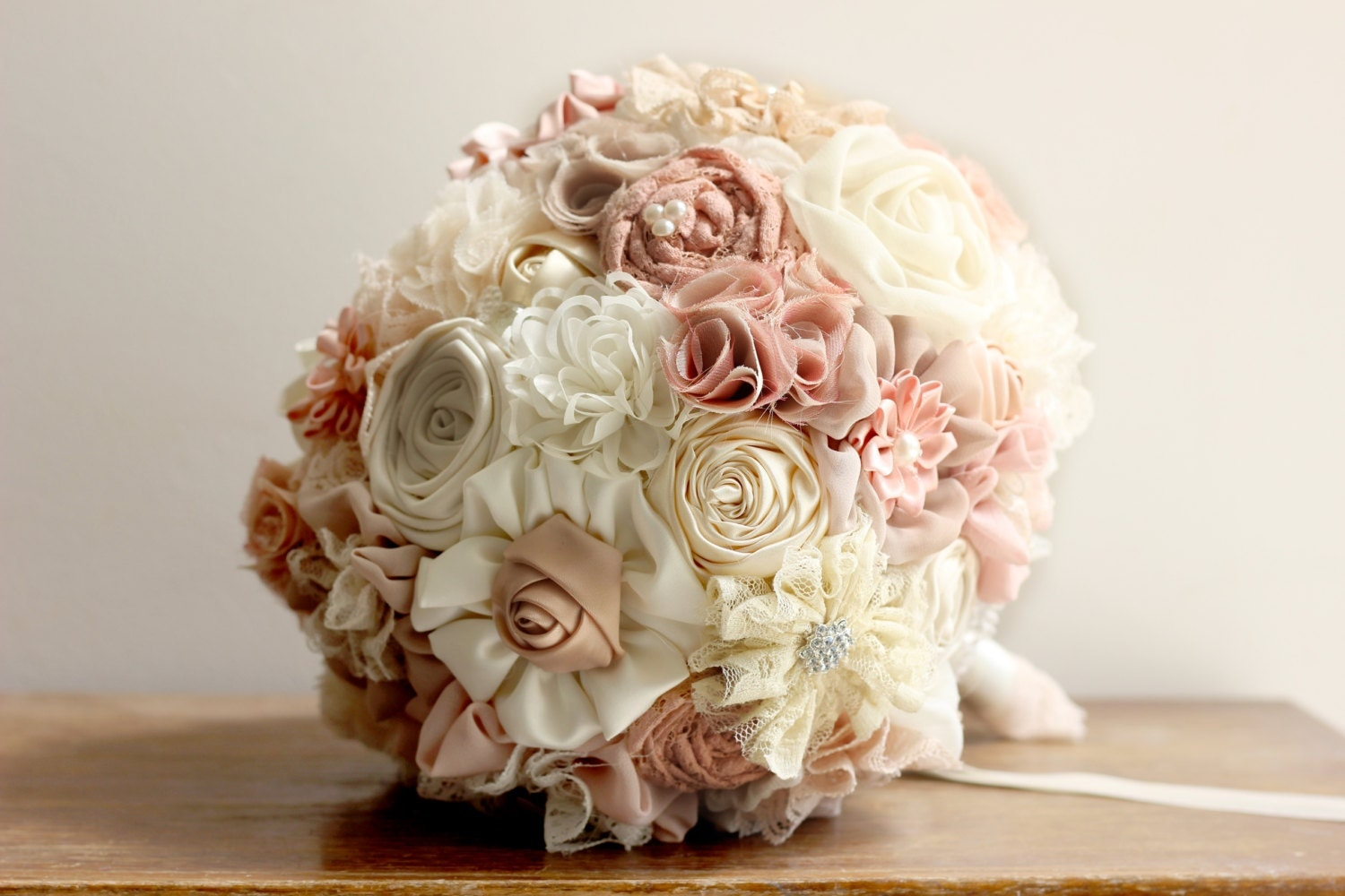 Wedding bouquet fabric rustic bridal bouquet shabby chic for Bouquet chic