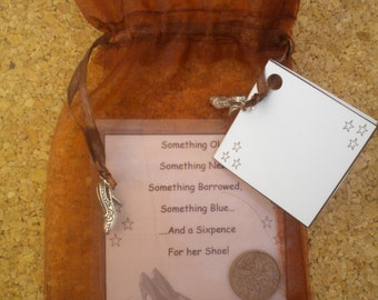 BROWN Organza Bridal SIXPENCE Something Old Something New Something Borrowed Something Blue and a Sixpence For Her Shoe