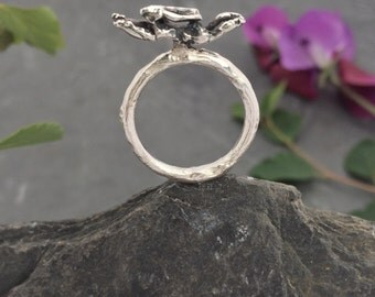 Hare, Rabbit, bunny, sterling silver ring