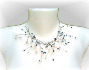 """Fairy Necklace """"Raindrops"""" in crystal and blue, Avant Garde necklace with earrings"""