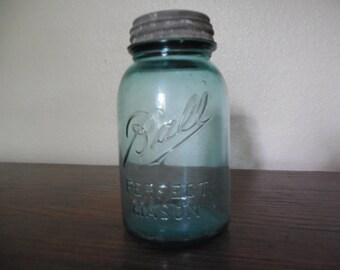 Antique Blue Ball Mason Jar