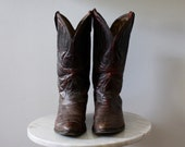 Cowboy Boots - Women's 9.5 - Wine Leather Brown Red - 1970s Vintage