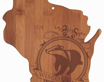 Engraved Wisconsin Cutting Board - Wisconsin Shaped Bamboo Cutting Board Custom Engraved - Wedding Gift, Couples Gift, Housewarming Gift