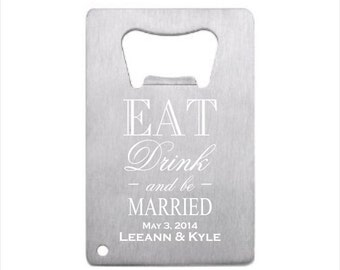 50 of Personalized Stainless Steel Credit Card Bottle Opener, engraved bottle opener wedding favor, groomsman gift, personalized party favor