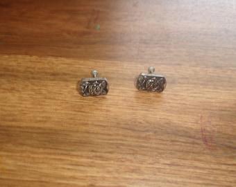 vintage screw back earrings embossed rose flowers silvertone