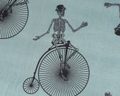 Halloween Fabric, Andover Chillingsworth,  Bicycle Race, Chillingsworth Skeletons, on Bicycles, By the Yard