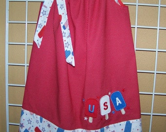 4th of July Dress, USA dress, July 4th dress, Popcicle Pillowcase dress, Patriotic dress, Girls Summer Dress, Size 2T to 14