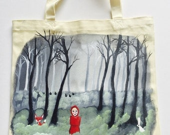 Fairytale Forest tote bag - Red Riding Hood - Tote Bag - Canvas Tote Bag - Fox Tote bag - Forest Theme - Painted Tote