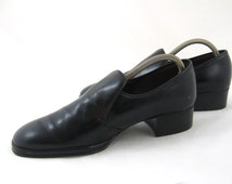 70s Mens Shoes Mens Cuban Heels Mens Black Shoes Stylecraft Leather Shoes 1970s Mens Slip Ons Mens Dress Shoes Black Leather Shoes
