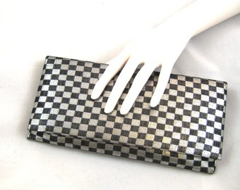 60s Silver Black Clutch Checked Evening Bag Black Silver Lame Purse 1960s Vegan Friendly Evening Bag Mod Print Clutch  Fabric Clutch Purse