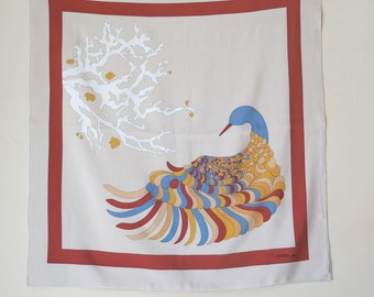 Vintage Gres Paris Silk Scarf Stylized Dove 33 by 34 Inches 460a