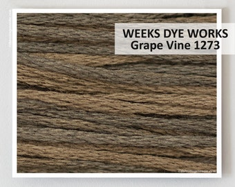 GRAPE VINE 1273 : Weeks Dye Works 6- strand embroidery floss WDW hand over dyed overdyed thread cross stitch needlepoint