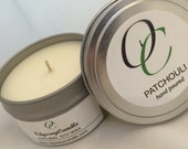 PATCHOULI//Highly Scented SOY CANDLE 6 oz tin
