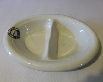 Antique English Soap and Sponge Tray Porcelain Dish Circa 1920 Cardiff Wales Souvenir