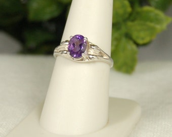 Amethyst Ring, Size 8, Purple Sparkle, Sterling Silver, Leaf Motif, February Birthstone, Natural Amethyst, Purple Amethyst, Purple Gemstone