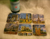 Vintage French motif coasters, Eiffel Tower coasters