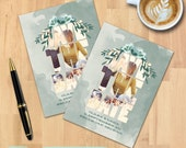 Watercolor Marblized Floral Save the Date | Bridal Shower | Instant Download | Photo Announcement | PSD File