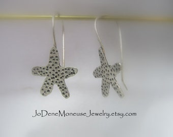 Starfish earrings - unique hand fabricated sterling silver starfish, artisan hand drawn,hand cut,hand textured metalwork, metalsmith jewelry