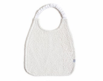 White baby Bib made of therry linen with elastic neck strapThe best bib ever by Lovely Home Idea