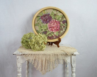 Vintage Picture Floral Wall Decor Hydrangeas Round Frame Cottage Chic