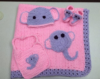 Pink and Purple Elephant Baby Blanket (crib sized) and set with hat, bib, & booties